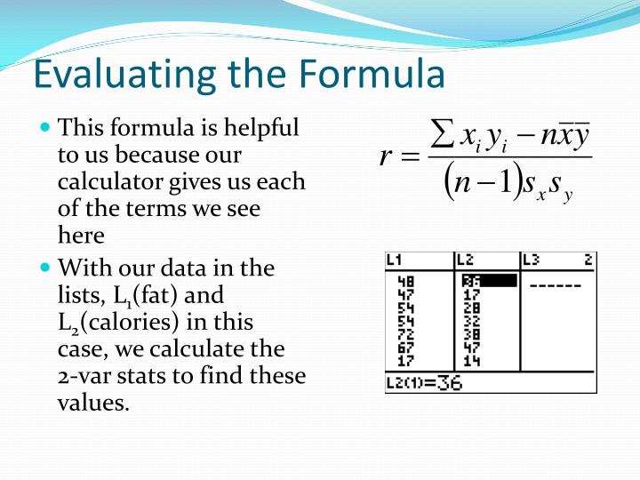 Evaluating the Formula