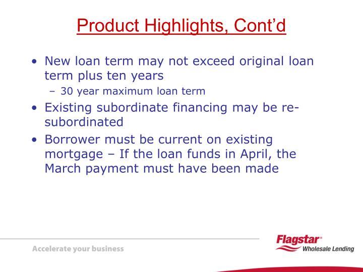 New loan term may not exceed original loan term plus ten years