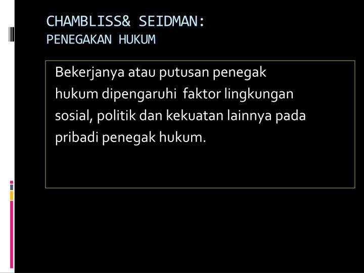CHAMBLISS& SEIDMAN:
