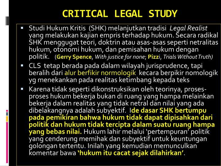 CRITICAL LEGAL STUDY