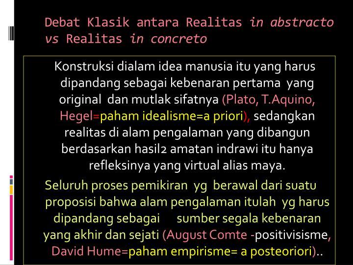 Debat Klasik antara Realitas