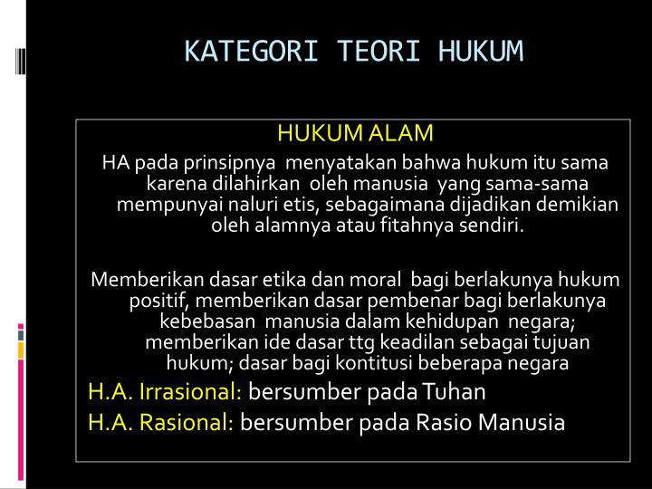 KATEGORI TEORI HUKUM