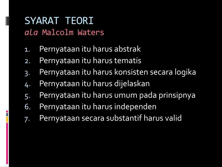 SYARAT TEORI