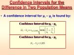 confidence intervals for the difference in two population means