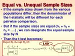 equal vs unequal sample sizes