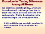 procedure for testing differences among all means