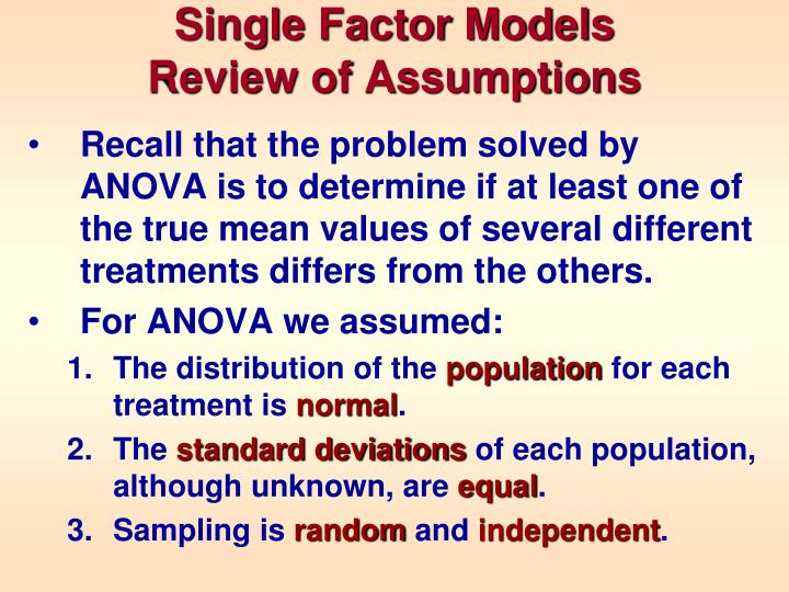 Single factor models review of assumptions