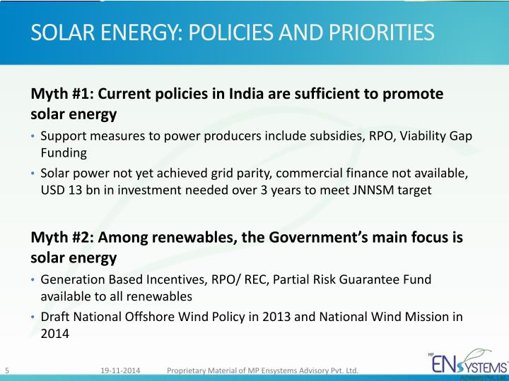 SOLAR ENERGY: POLICIES AND PRIORITIES