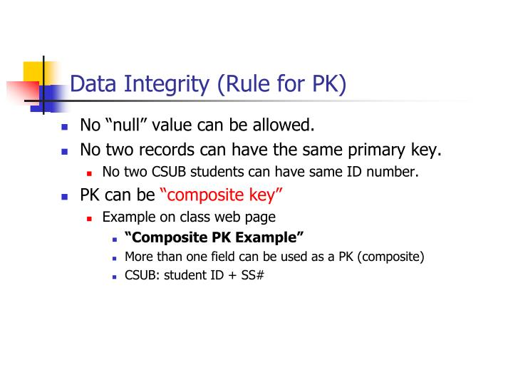 Data Integrity (Rule for PK)