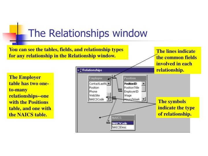 The Relationships window