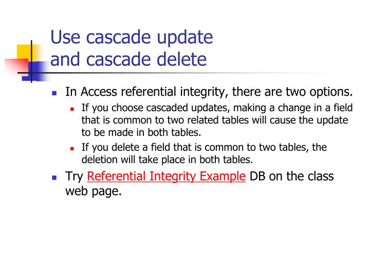 Use cascade update
