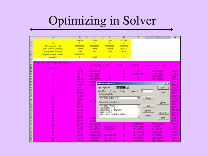 Optimizing in Solver