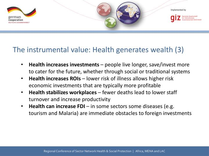 The instrumental value: Health generates