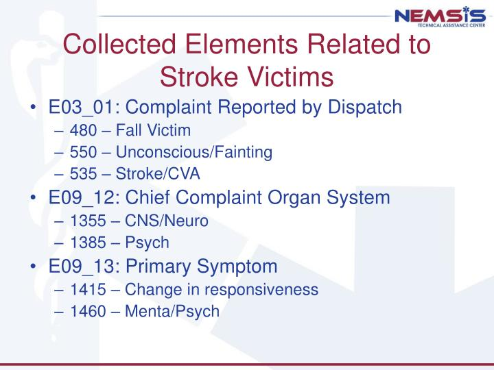 Collected Elements Related to Stroke Victims
