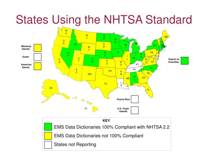 States Using the NHTSA Standard