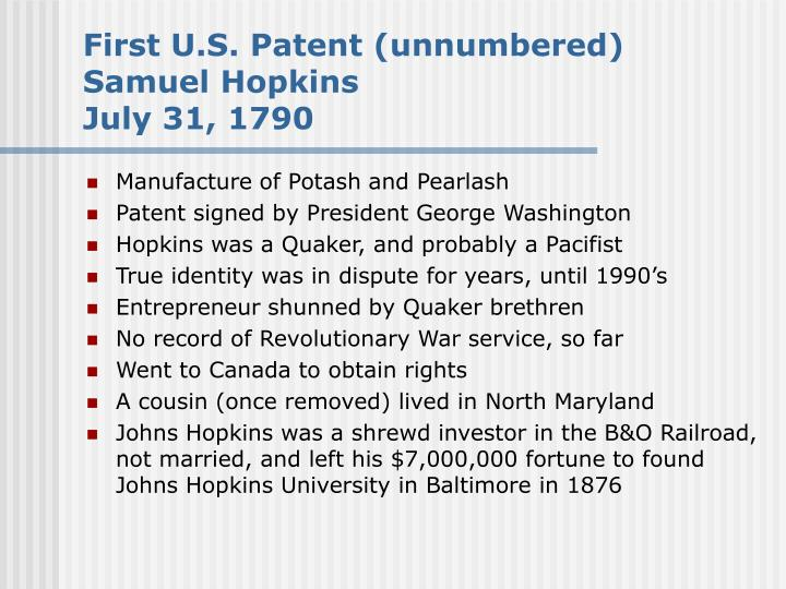 First U.S. Patent (unnumbered)