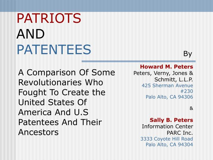 Patriots and patentees