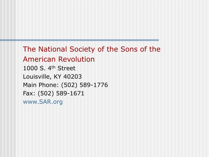 The National Society of the Sons of the