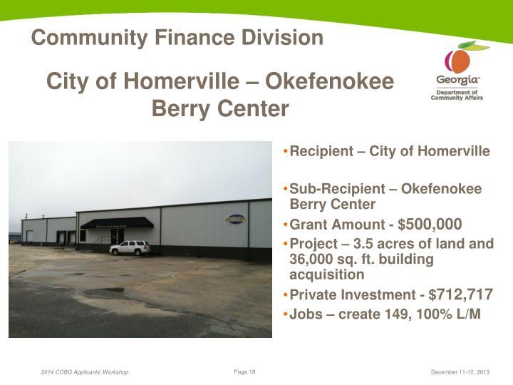 City of Homerville – Okefenokee Berry Center