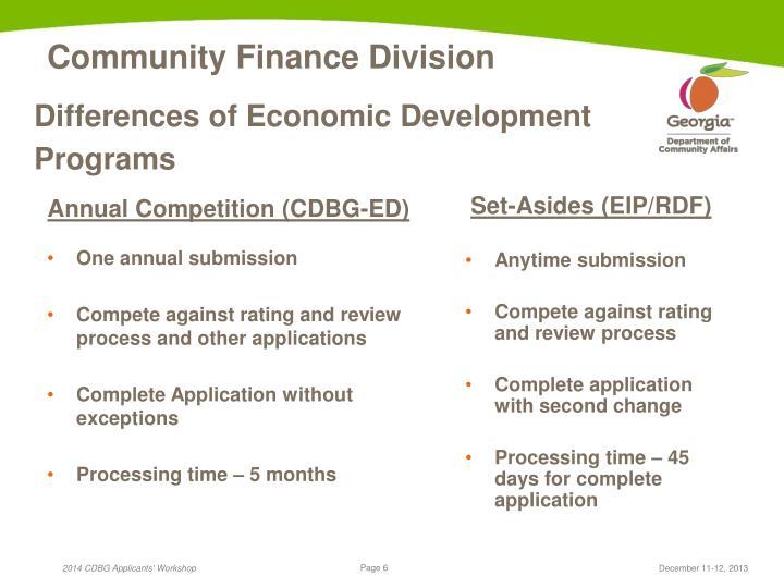 Differences of Economic Development Programs