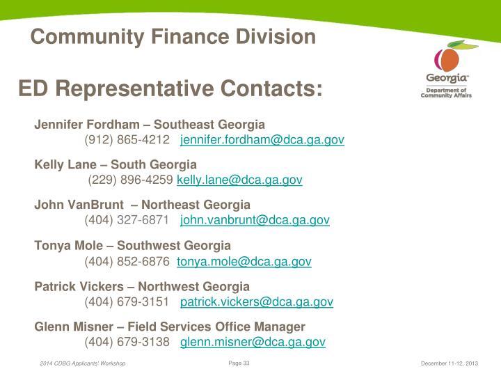 ED Representative Contacts: