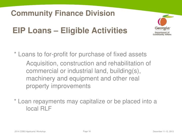 EIP Loans – Eligible Activities