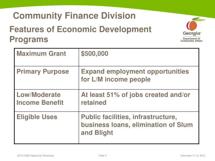 Features of Economic Development Programs