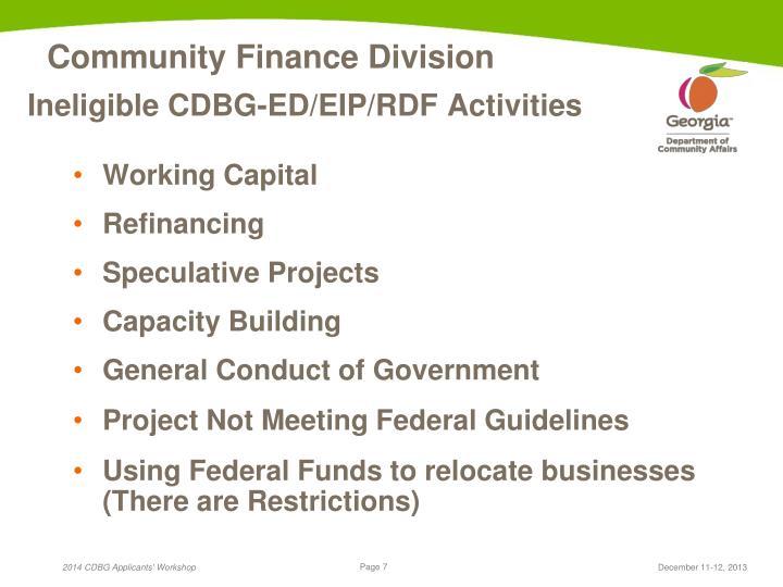 Ineligible CDBG-ED/EIP/RDF Activities