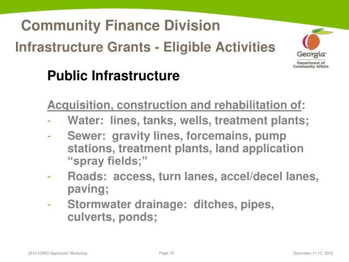Infrastructure Grants - Eligible Activities