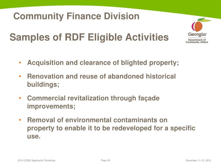 Samples of RDF Eligible Activities
