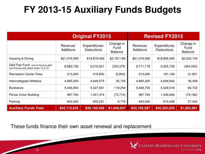 FY 2013-15 Auxiliary Funds Budgets