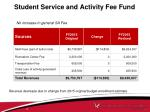student service and activity fee fund