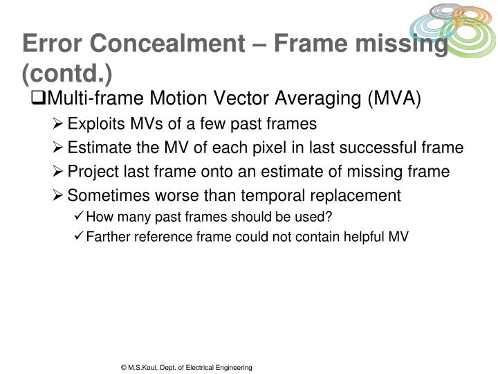 Error Concealment – Frame missing (contd.)