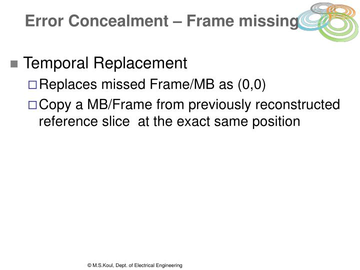 Error Concealment – Frame missing