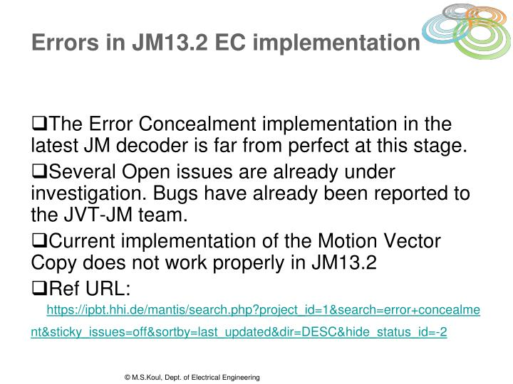 Errors in JM13.2 EC implementation