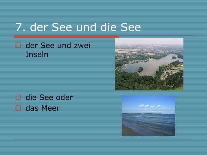 7. der See und die See