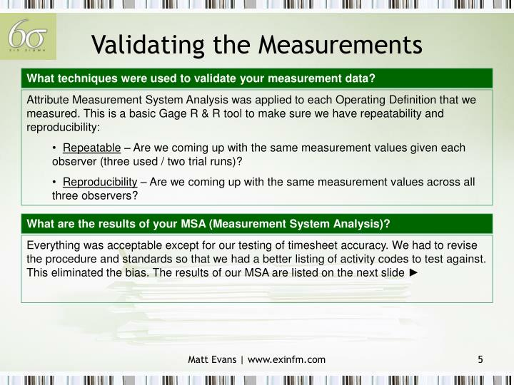 Validating the Measurements