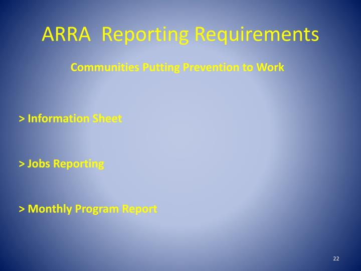 ARRA  Reporting Requirements