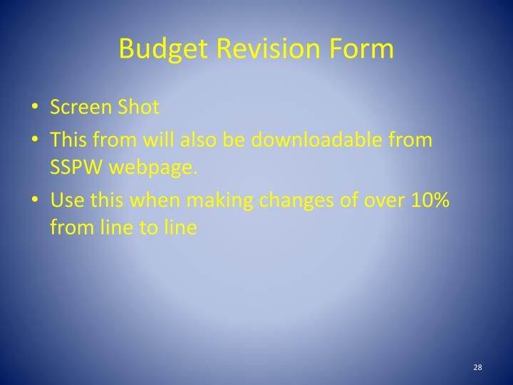 Budget Revision Form