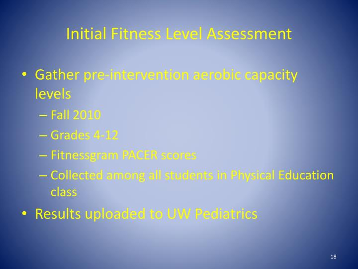Initial Fitness Level Assessment