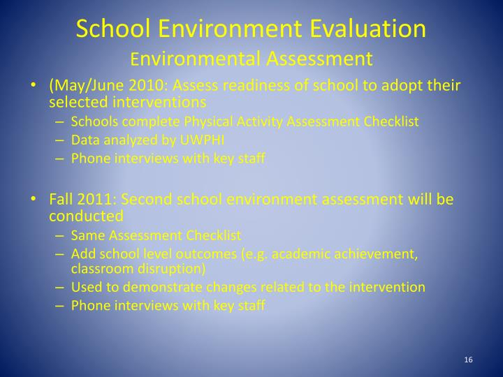 School Environment Evaluation