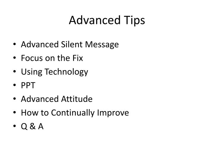 Advanced Tips