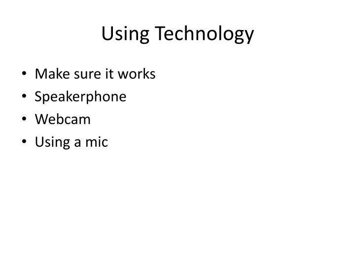 Using Technology
