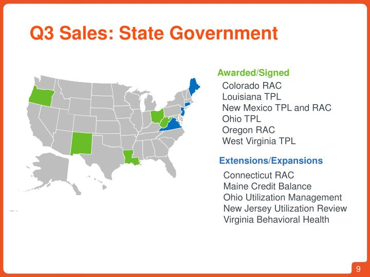 Q3 Sales: State Government
