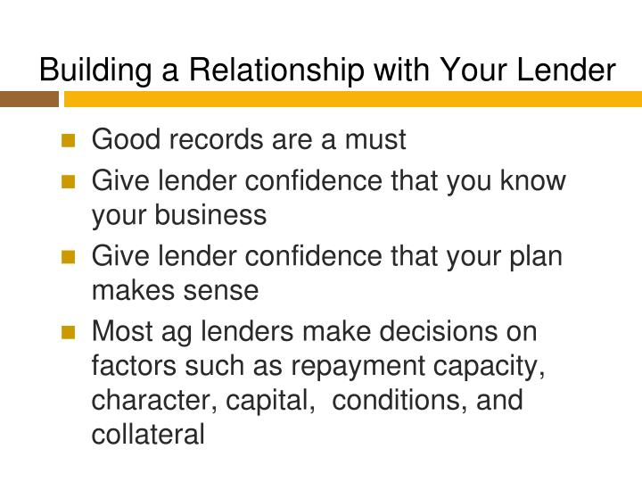 Building a Relationship with Your Lender