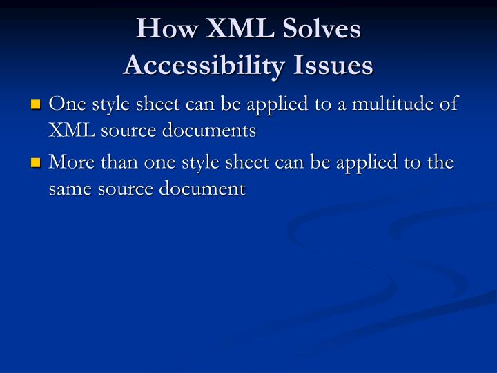 How XML Solves