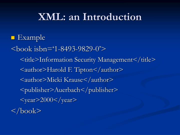 XML: an Introduction