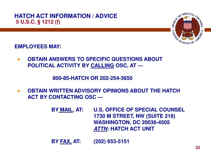 HATCH ACT INFORMATION / ADVICE