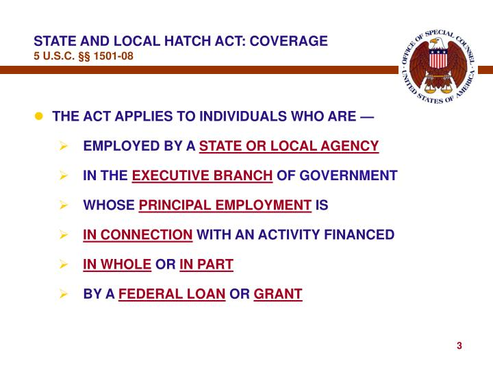 State and local hatch act coverage 5 u s c 1501 08
