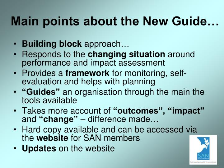 Main points about the New Guide…